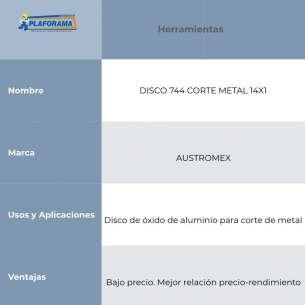 DISCO 744 CORTE METAL 14X1 AUSTROMEX