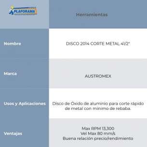 "DISCO 2014 CORTE METAL 41/2"" AUSTROMEX"