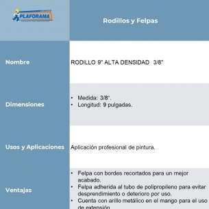 "RODILLO 9"" PROF. ALTA DENSIDAD  3/8"""
