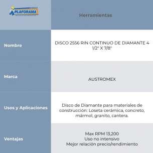 "DISCO 2556 RIN CONTINUO DE DIAMANTE 4 1/2"" X 7/8"" AUSTROMEX"