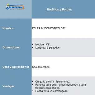 """FELPA 9"""" DOMESTICO 3/8"""""""