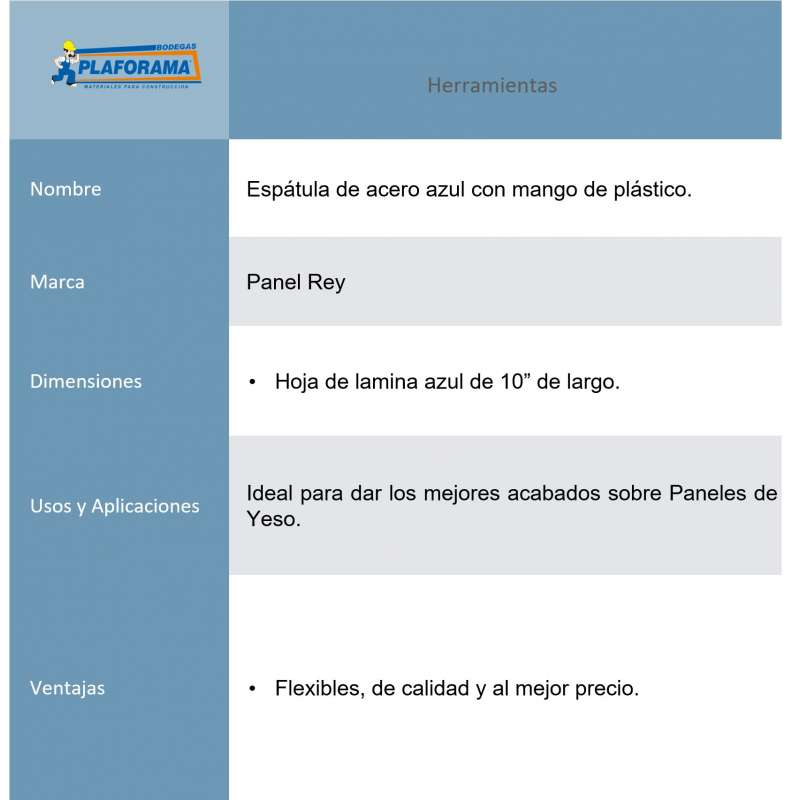 Espatula Panel Rey 506452 Acero azul...