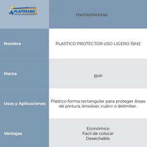 PLASTICO PROTECTOR USO LIGERO 15M2