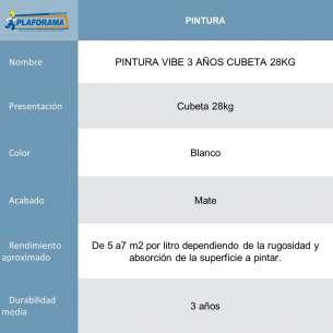 PINTURA VIBE 3 AÑOS CUBETA 28KG