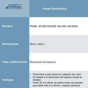 PANEL 3D MODELO SAILING DE 30X30CM COLOR BLANCO CAJA CON 33 PIEZAS