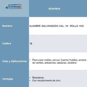 ALAMBRE GALVANIZADO CAL. 16 - ROLLO 1KG