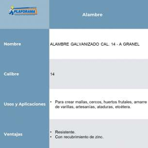 ALAMBRE GALVANIZADO CAL. 14 - A GRANEL