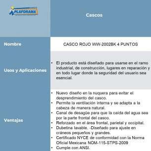 CASCO ROJO WW-2002BK 4 PUNTOS