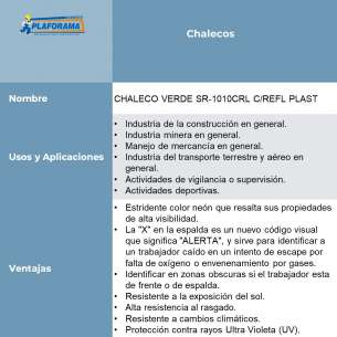 CHALECO VERDE SR-1010CRL C/REFL PLAST