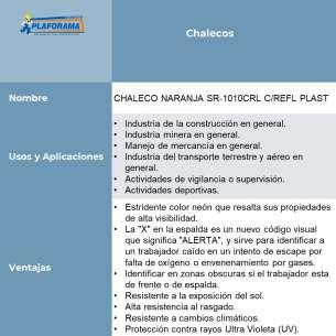 CHALECO NARANJA SR-1010CRL C/REFL PLAST