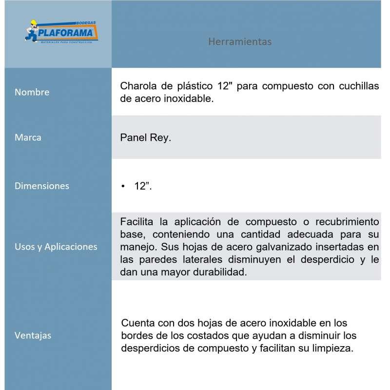"Charola Panel Rey 506458 Plastico 12""..."