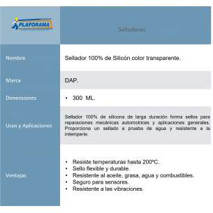 SILICON TRANSPARENTE 100%  12/300 ML