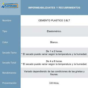 CEMENTO PLASTICO  3.8LT