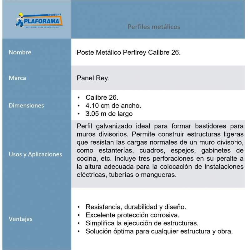 Poste Metálico Perfirey Calibre 26...