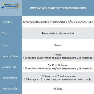 IMPERMEABILIZANTE FIBRATADO 5 AÑOS BLANCO 19LT MARCA THERMOTEK