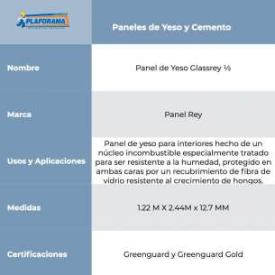 "PANEL DE YESO GLASSREY 1/2"" (12.7MM)"