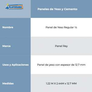 "PANEL DE YESO REGULAR 1/2"" (12.7MM)"