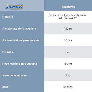 ESCALERA DE TIJERA ALUM TIPO III  4FT (C-2312-04N)