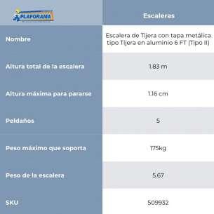 ESCALERA DE TIJERA ALUM TIPO II  6FT (C-2213-06)