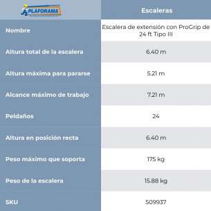 ESCALERA DE EXTENSIÓN ALUM TIPO II  24FT (C-2224-24PG)