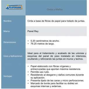 Cinta de papel Panel Rey 800195. Medidas 76.25m x 5.2cm Presentación 1 pieza. Ideal para el tratamiento de uniones en Paneles de Yeso.